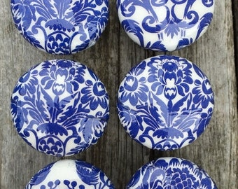 Knobs hand decorated  drawer knobs; 8 blue toile- 1 1/2 inches