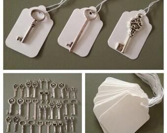ON SALE Skeleton Key Wedding Favors 100 Silver Skeleton Keys & 100 White Tags Wedding Skeleton Keys Wedding Favor Vintage Keys - Keys to Hap