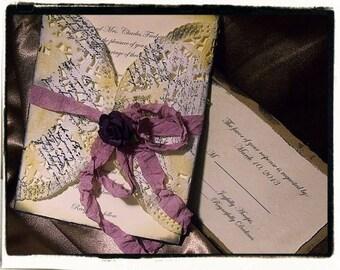 Sample OnlyPurple / plum Romantic French Vintage Inspired Wedding invitation suite