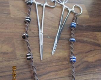 Hand Made Macrame Concert Clips/Hemostats w/ Lazar Cut Beads...brown.........OOAK....Original Design....