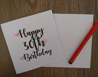 30th birthday card, birthday card, Greetings card, 30th card, personalised card, floral birthday card, handmade birthday card, handmade