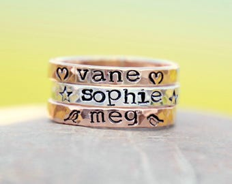 Hand Stamped Stacking Rings - Personalized Rings - hammered rings - kids name rings - hand stamped stackable rings - hand stamped rings