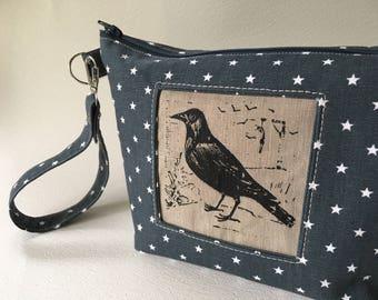 Raven Wristlet, Canvas Handprinted