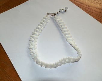 Vintage White Milk Glass Choker/Necklace marked Germany