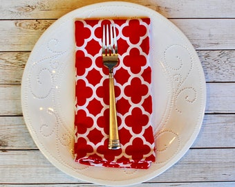 Large red reversible cloth napkins. Pair (2) of cloth napkins with reversible damask and polka dot pattern. Christmas decor.