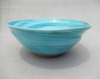 Serving Bowl - Pottery Handmade Turquoise and Terracotta Ceramic Bowl