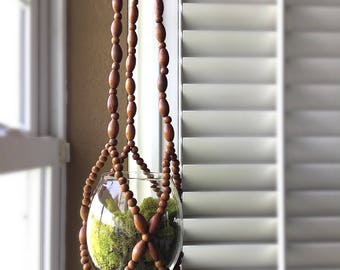 Vintage Wooden Beaded Hanging Planter With Glass Insert For Airplants Marimo Mosses Terrariums