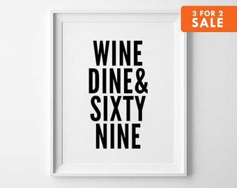 Weird print wall art typography poster black and white i for Wine and dine wall art