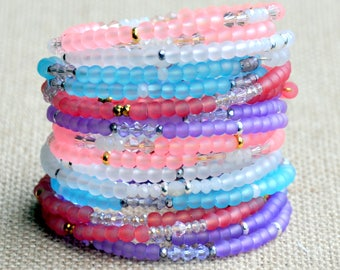 SPECIAL INTRO. PRICE** Set of Two Pastel Frost & Sparkle Wrap Bracelets