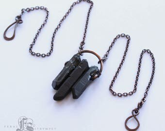 Dark Coven Black Plated Quartz Crystal Necklace with Copper. Sindris Forge