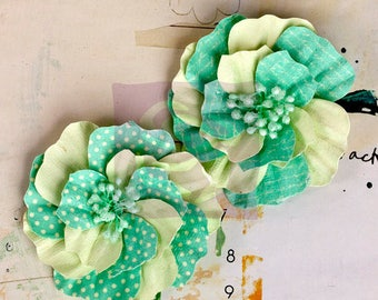"Aqua mint Flowers -  2 pcs  Ascot Park Snowcone 566272  Mulberry paper flowers vintage chevron & polka dot print - embellished centers 3"""