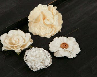 Fabric Flowers -  AU Naturale B 562656 -  White and light cream Ivory linen and lace  fabric flowers - vintage style