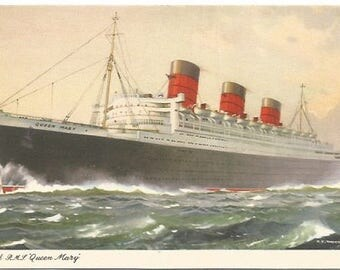 The Queen Mary Sailing On Voyage  Historic Luxury Line Artist Signed C. E. Turner 1950's Vintage Postcard Ephemera Vintage Paper