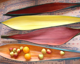 Long and wide palm Moroccan African coloured  pod leaf fruit bowl