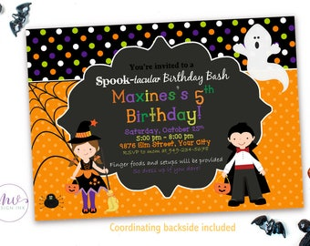 Kids Halloween Birthday Party Invitation, Halloween Birthday Invitation, Kids Halloween Party Invitations, Halloween Invitation Kids