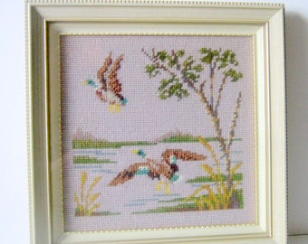 Duck Picture-Mallard Picture-Needlepoint-Framed Shabby Picture-Wood Frame with Glass-30x30cm