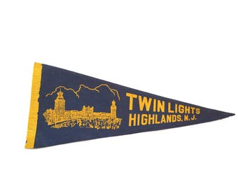 Twin Lights Highlands NJ Felt Flag