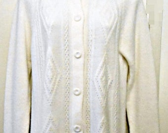 On Sale 60s/Cardigan/White/Retro/Hipster/Fully Fashioned/Size 40/Large