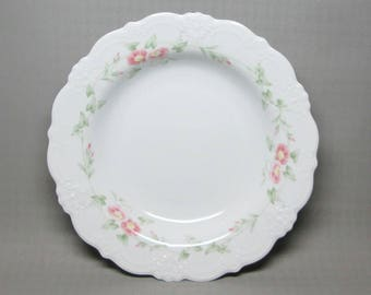 Tirschenreuth Baronesse set of four rim soup bowls  MONIQUE , pink and green flowers , morning glory