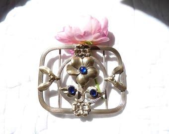 French Buckle - Art Nouveau -Napoléon III - French Antique Belt Buckle - Antique Jewelry - Blue Gemstone