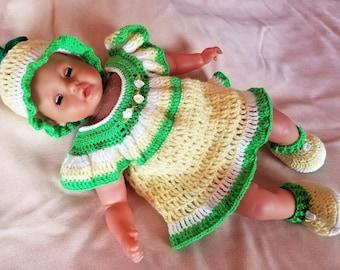 Handmade Baby Crochet Dress, Hat and Booties set (0-3 month). Lemon set!
