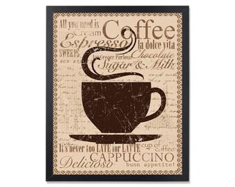 Coffee art Coffee decor Kitchen Art But first coffee sign Rustic decor Kitchen decor Coffee poster Coffee lover Coffee gift Coffee bar sign