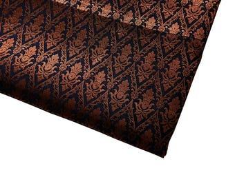 15% de descuento en una yarda de tela del brocado indio azul marino en un majestuoso diseño traje/vestido de la tela tela casa Acentos tela