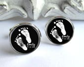Footprint Cufflinks, Personalized Gift For Dad, Baby Footprint Or Handprint Cufflinks