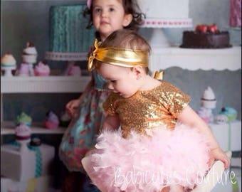 Baby Girl Gold Sequin Bodysuit, Gold Sequin Leotard, Sparkle Bodysuit, Baby Girl Fancy Sequin Bodysuit, Baby Girl Gold Sequin Romper Leotard