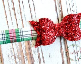 Christmas Bow Headband - Baby Christmas Headband - Red Glitter Bow Headband - Plaid Bow Headband- Plaid Christmas Headband