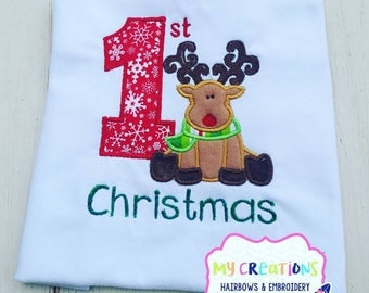 Reindeer First Christmas Shirt **Matching Pants Available **