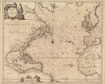 1650 Nautical Chart of the Atlantic Ocean