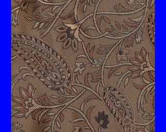 ON SALE Silk Maruthi Paisley Jacquard Fabric Remnant 100% Silk Gold Brown Shades