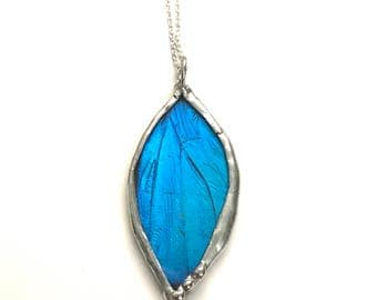Real Preserved Blue Morpho Butterfly Wing Necklace
