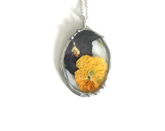 Flower Fairy Pressed Pansy Purple Yellow Glass Necklace