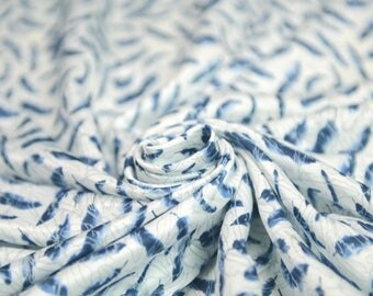 new arrival smooth 14.5momme blue black feather white silk cotton fabric by yard for dress