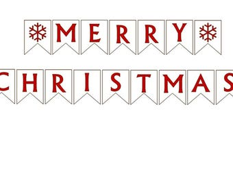Merry Christmas Banner DIY Christmas Garland Print Your own Seasonal Banner Pdf Printable
