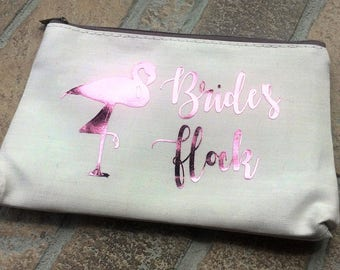 Flamingo Bachelorette,Personalized makeup bag,Flamingo Party,Pink Flamingo,Custom Cosmetic Bag,Personalized Bag Brides Flock, Flamingo Favor