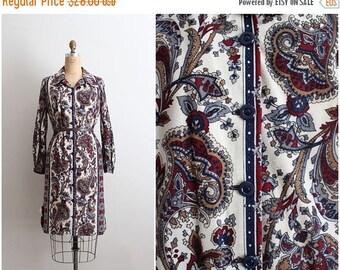 40%OFF / 70s Paisley Dress / Boho dress/ Mod Dress /1970s Shirt Dress/ Size L/XL