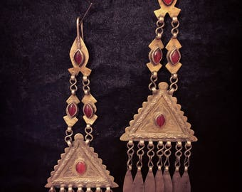 Antique Silver Afghani Earrings with Gold Wash and Carnelian Stones for belly dancers, collectors and boho godesses.