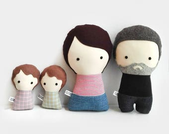 Couple with two babies. Personalized Dolls. Handmade Plush Dolls. Custom your own family.