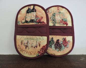 Mini Microwave Mitts-Oven Mitts-Pinchers-Wine Bottles & Grapes w/Burgundy Trim-Free Shipping