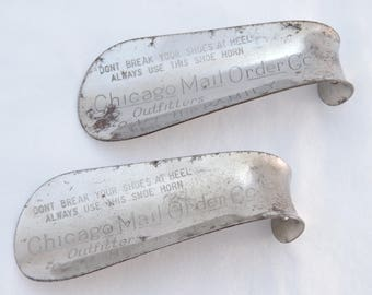 Lot of 2 Vintage Chicago Mail Order Co. Metal Advertising Shoehorns - Outfitters to All the Family