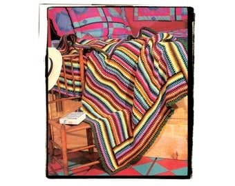 Instant Download PDF Beginners Crochet Pattern to make a Multi Coloured Stripe Fiesta Carnival Afghan Blanket Sofa Throw or Rug 16 colours