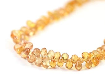 SUMMER SALE Sapphire Micro Faceted Teardrop Briolettes Natural Orange Salmon Precious Gemstones