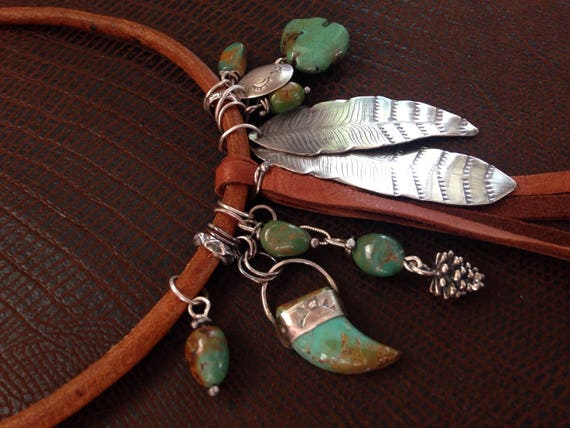 Handmade Jewelry, Southwestern Jewelry, Boho Chic, Bear Charm Necklace, Turquoise and Leather Necklace, Feather Jewelry