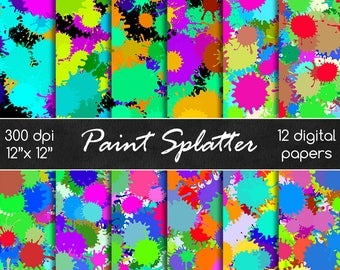 Paint splatter digital papers, paint splat, paint drops, splashes, digital papers, scrapbooking papers, seamless papers DIGITAL DOWNLOAD
