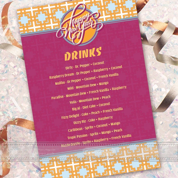 dirty drink menu, grad party drink menu, Happy New Year, New Years party ideas, drinks menu, 8x10 drinks menu, birthday party ideas, IN615