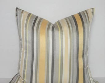 SPRING FORWARD SALE Yellow Grey Taupe Beige Sateen Silk Stripe Home Decor by HomeLiving Pillow Cover Size 18x18