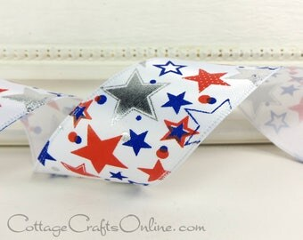 "Wired Ribbon, 1 1/2"" Patriotic Red, White, Blue and Silver Stars , THREE YARDS, Offray ""Americana"" 4th of July, Presidents Day Wire Edged"